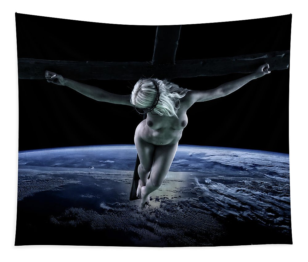 Tellus Tapestry featuring the photograph Tellus Crucifix I by Ramon Martinez