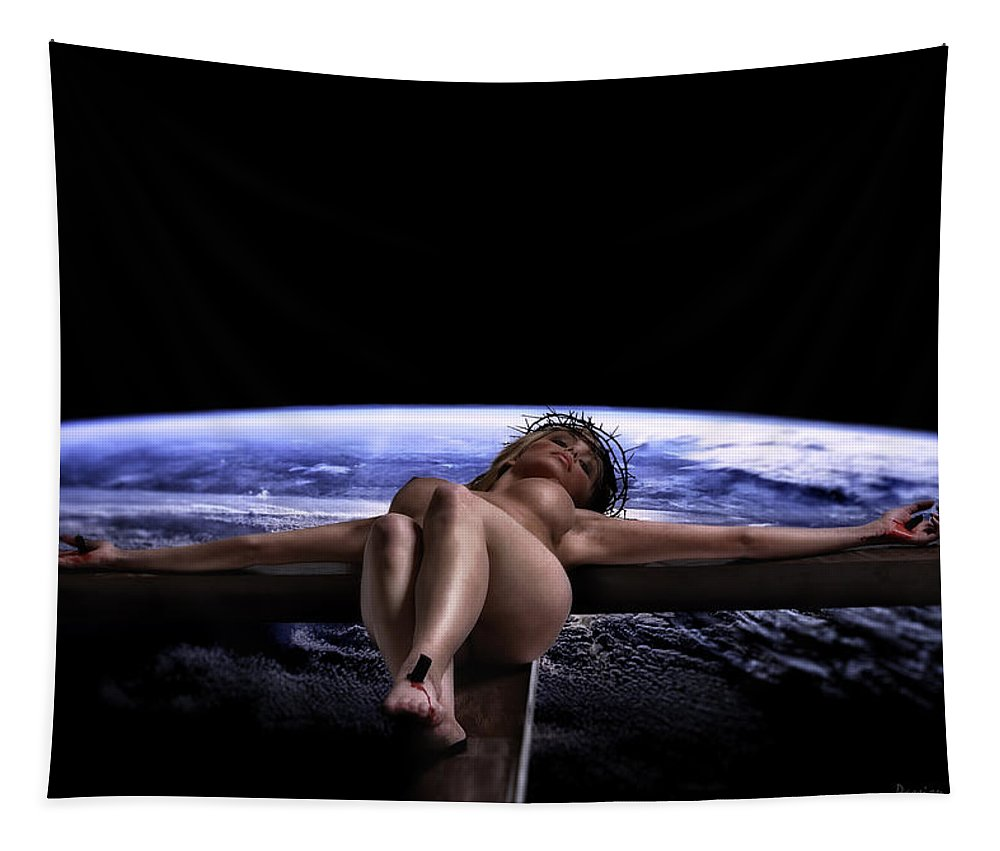 Tellus Tapestry featuring the photograph Tellus Crucifix In Dark V by Ramon Martinez
