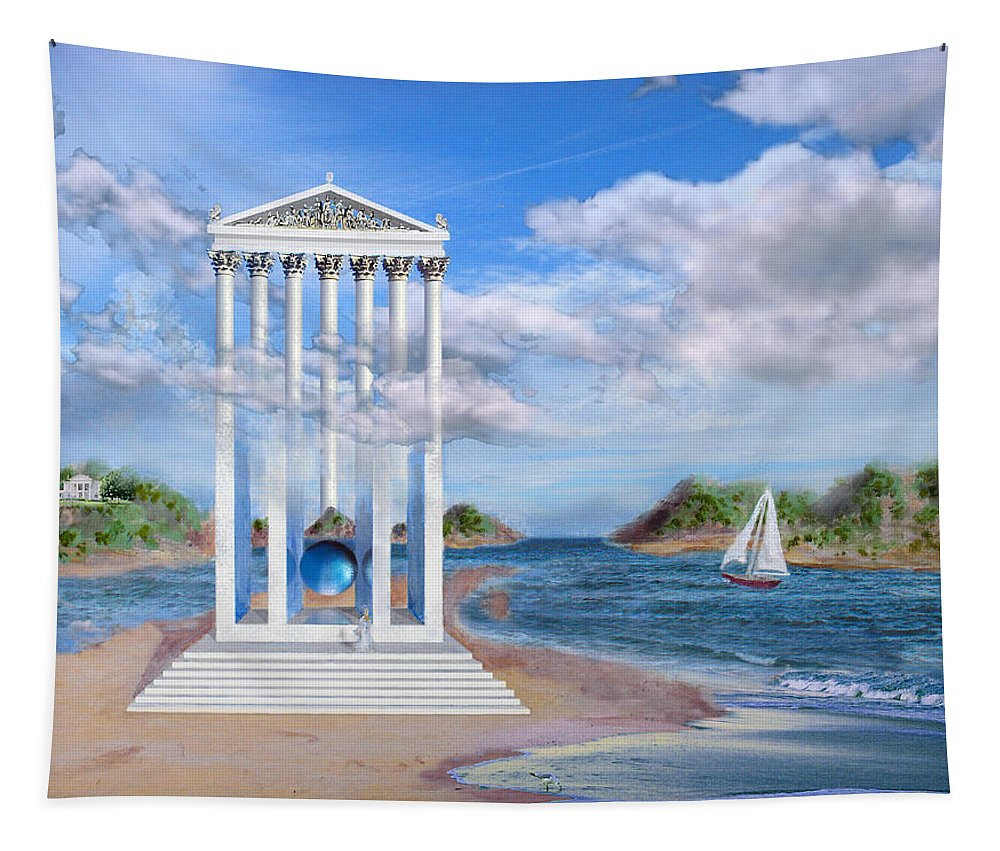 Landscape Tapestry featuring the painting Temple for No One by Steve Karol
