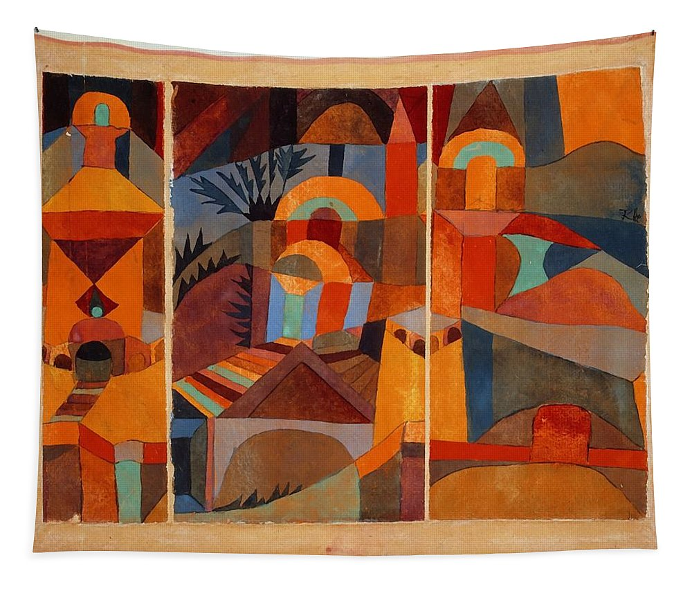 Paul Klee Tapestry featuring the painting Temple Gardens by Paul Klee