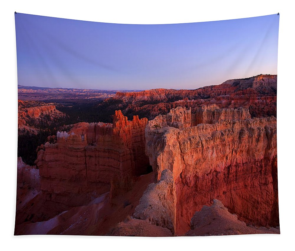 Hoodoo Tapestry featuring the photograph Temple of the setting sun by Mike Dawson