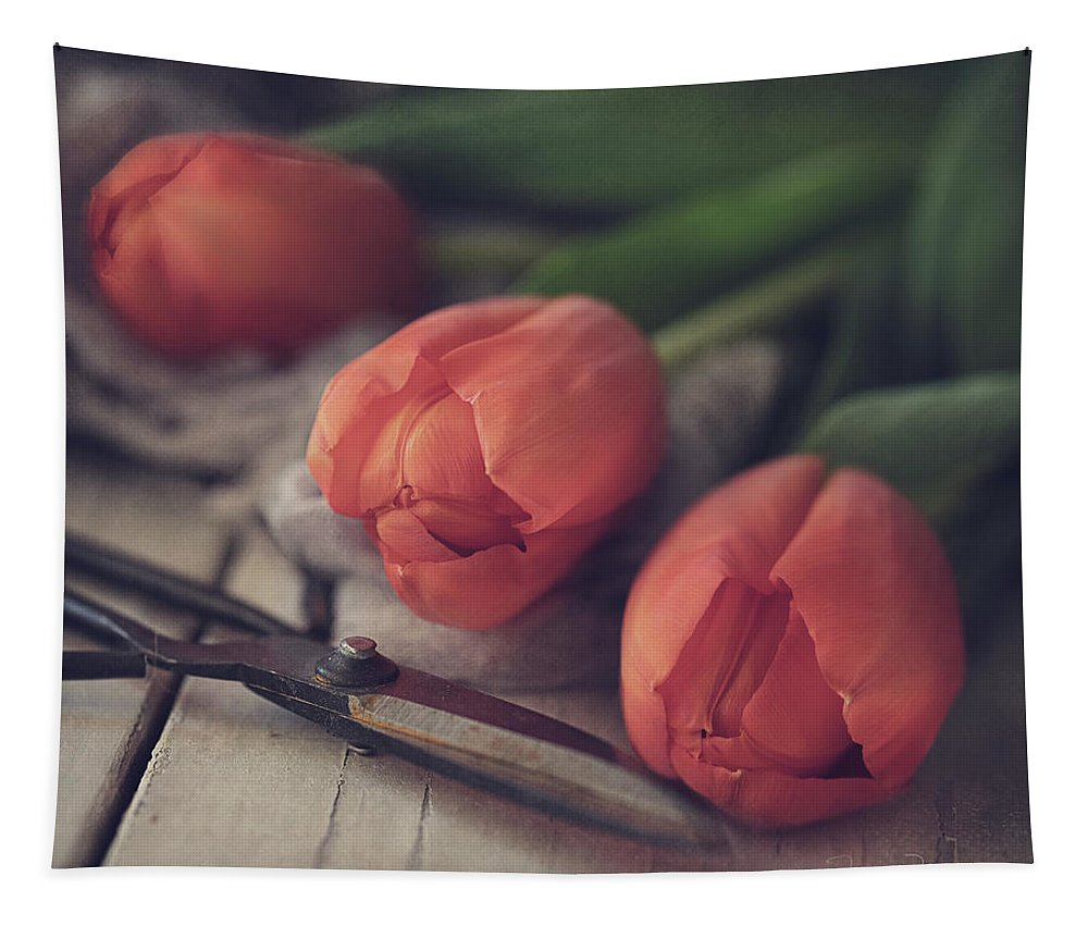 Spring Tapestry featuring the photograph Tending The Tulips by Teresa Wilson