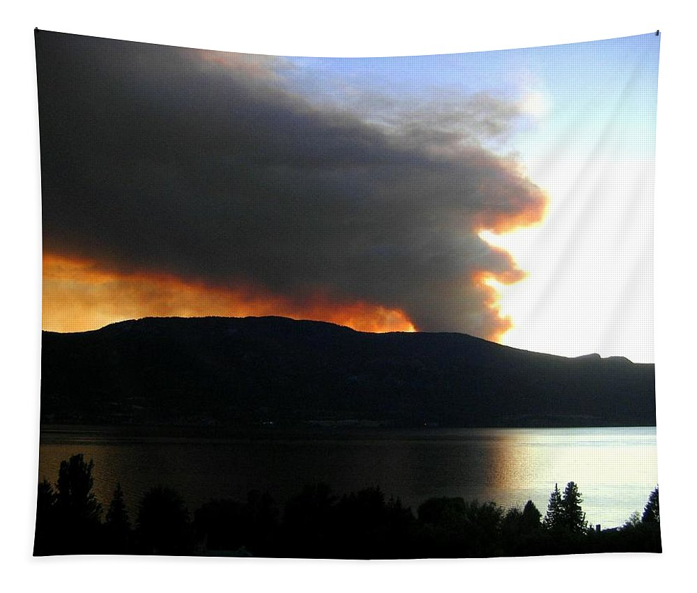 Forest Fire Tapestry featuring the photograph Terrace Mountain Fire by Will Borden
