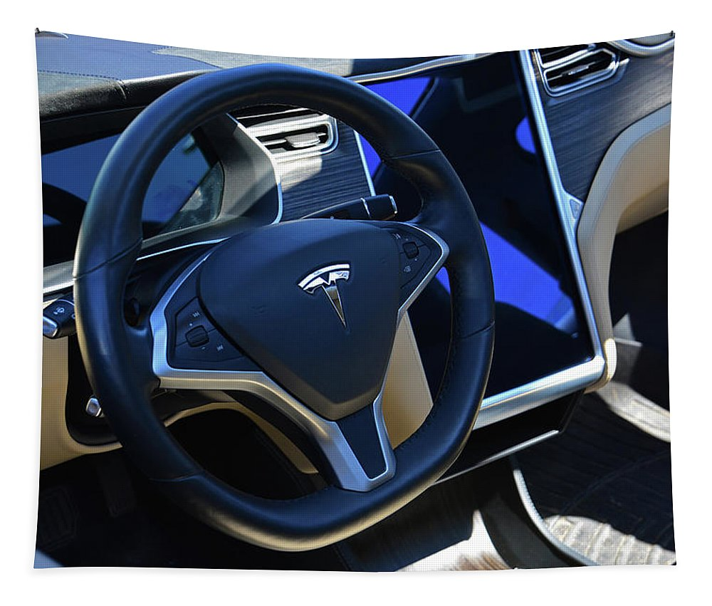 Shop Tapestry featuring the photograph Tesla S85d Cockpit by Mike Martin