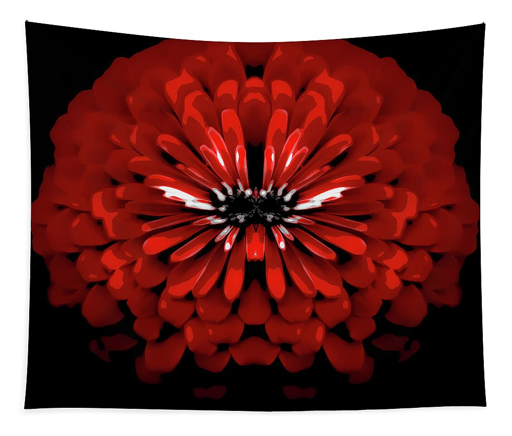 Tapestry featuring the photograph Test Red Abstract Flower 3 by Heather Joyce Morrill