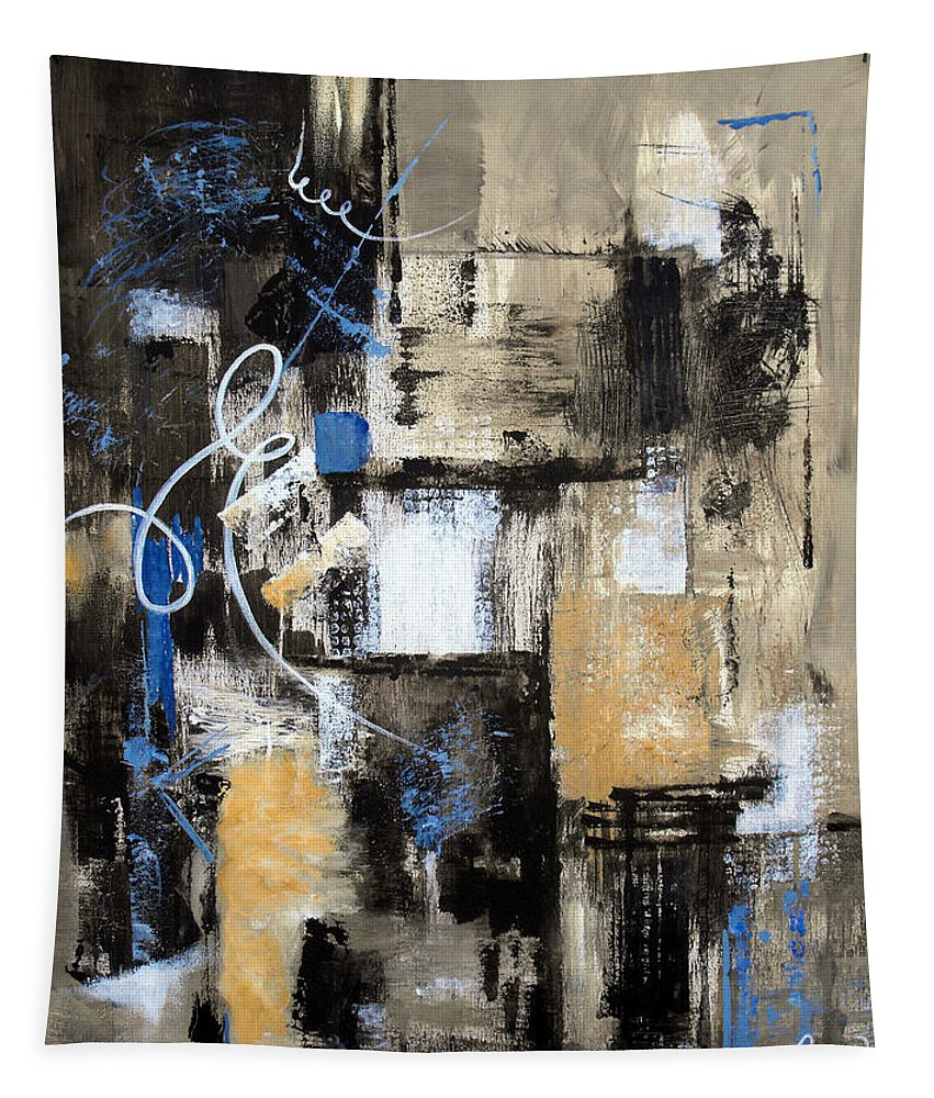Abstract Tapestry featuring the painting Testing The Waters by Ruth Palmer