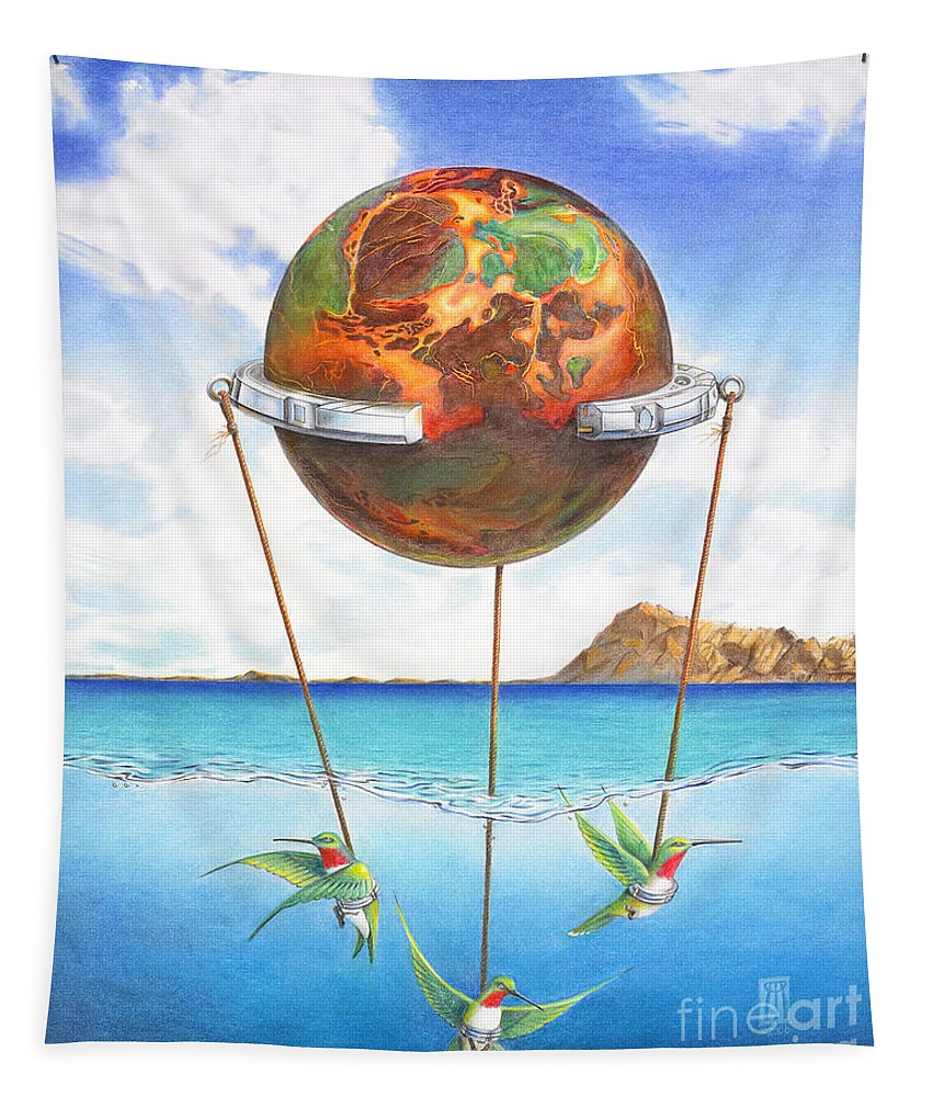 Surreal Tapestry featuring the painting Tethered Sphere by Melissa A Benson