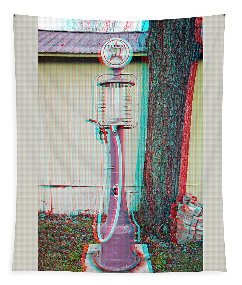 3d Tapestry featuring the photograph Texaco Gas Pump - Use Red-cyan 3d Glasses by Brian Wallace
