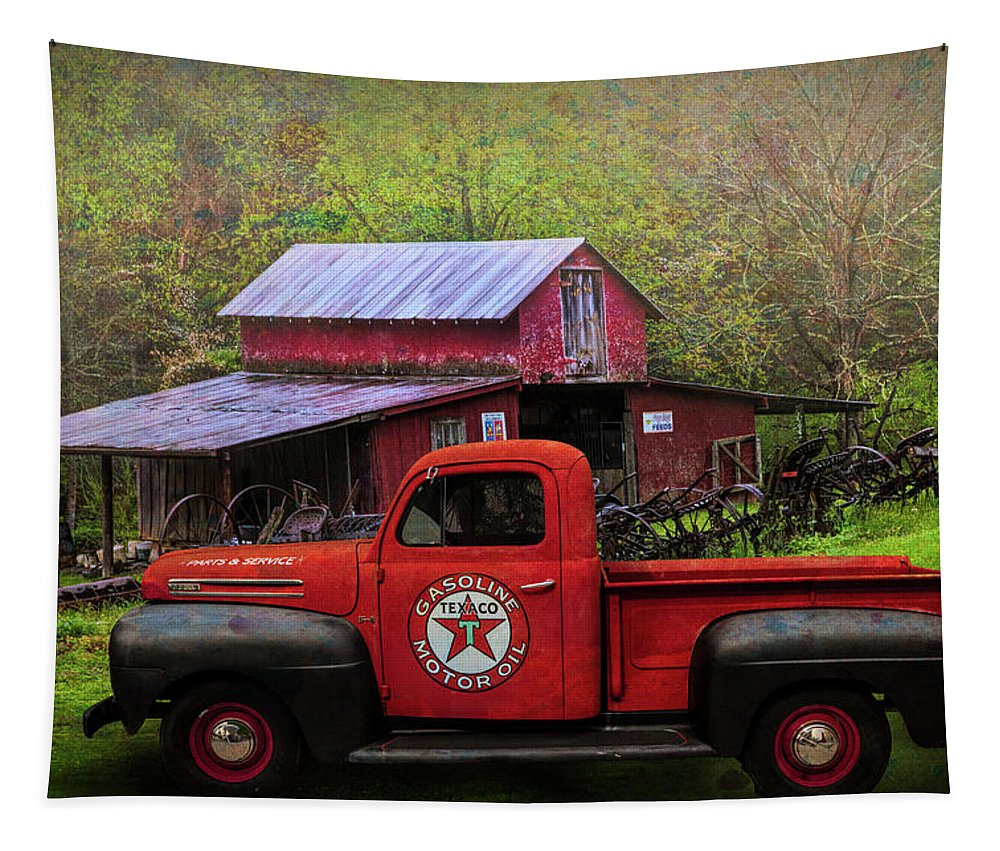 Appalachia Tapestry featuring the photograph Texaco Truck On A Smoky Mountain Farm In Colorful Textures by Debra and Dave Vanderlaan