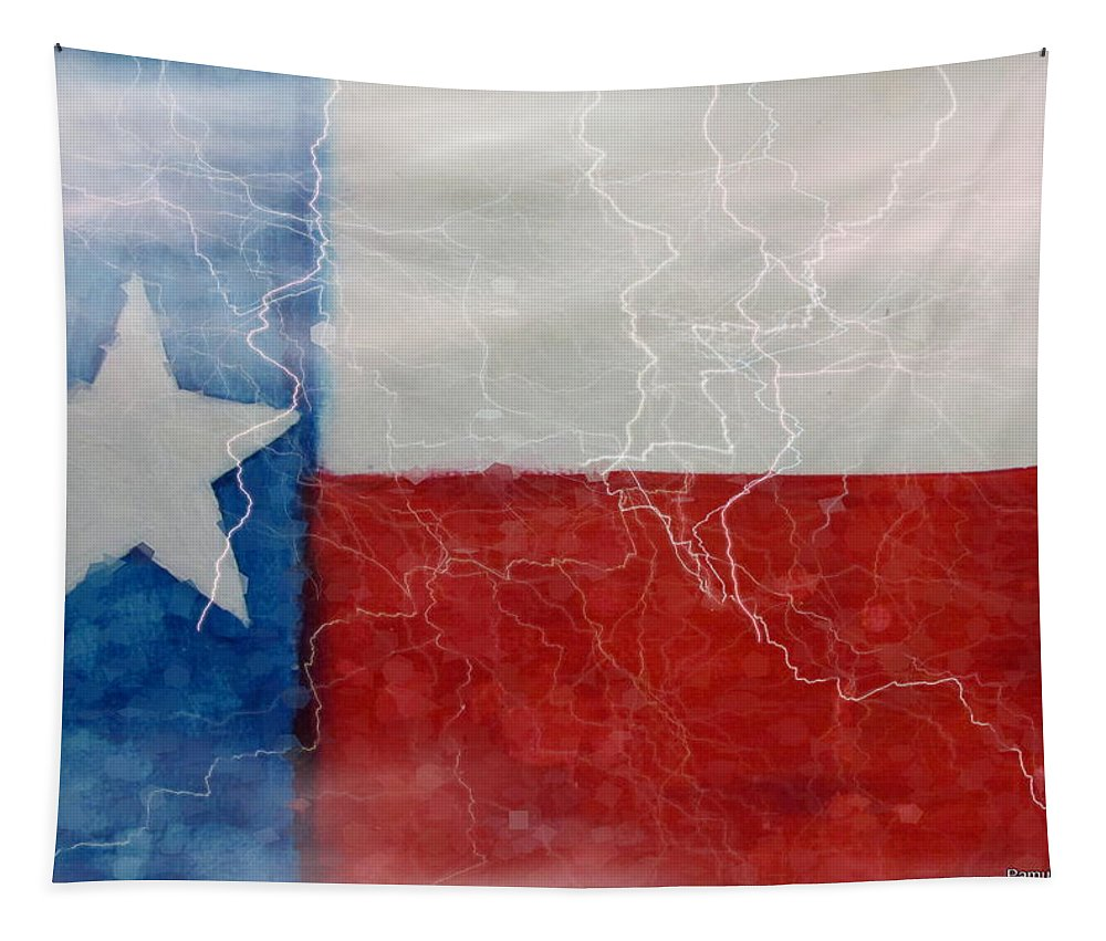 Watercolor Tapestry featuring the mixed media Texas Storm by Pamula Reeves-Barker