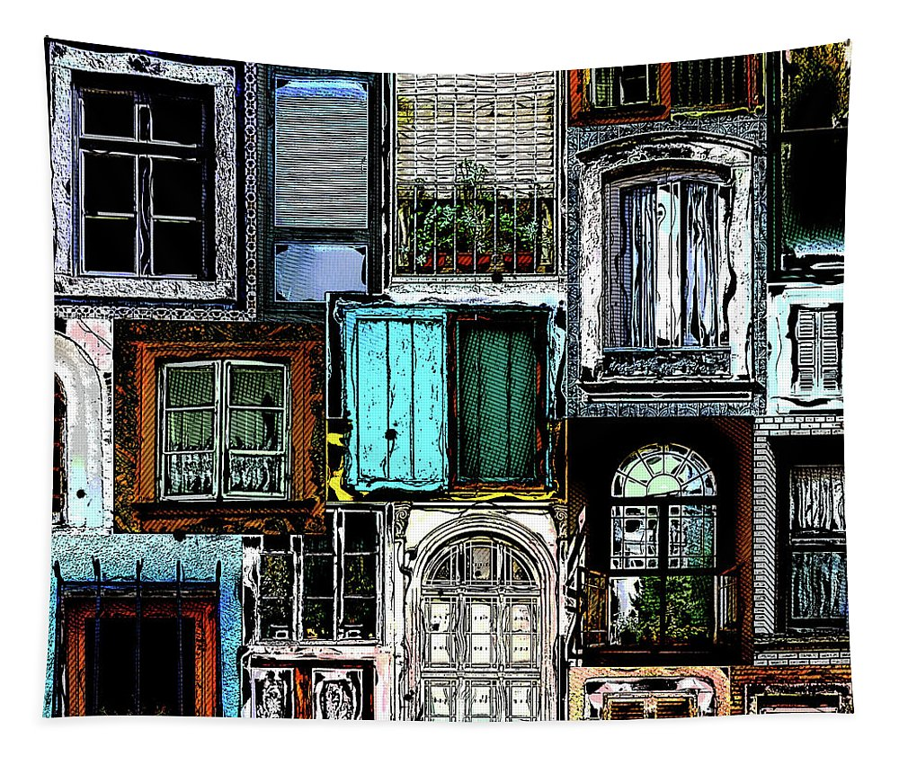 Windows Tapestry featuring the digital art Textural Windows Collage by Phil Perkins