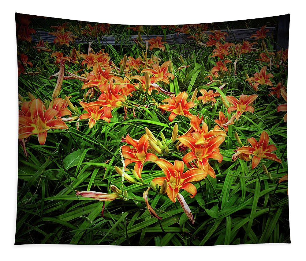 Flower Tapestry featuring the photograph Texture Drama Field Of Tiger Lilies by Aimee L Maher ALM GALLERY