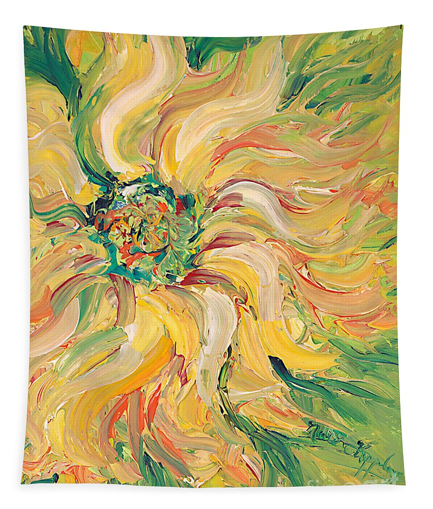 Texture Tapestry featuring the painting Textured Green Sunflower by Nadine Rippelmeyer