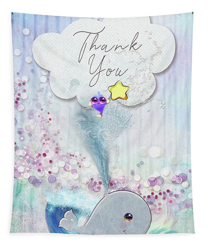 Thank You Tapestry featuring the mixed media Thank You - Whale by Mo T