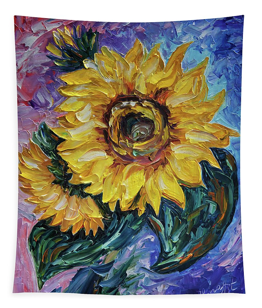 Olena Art Tapestry featuring the painting That Sunflower From The Sunflower State by OLena Art Brand