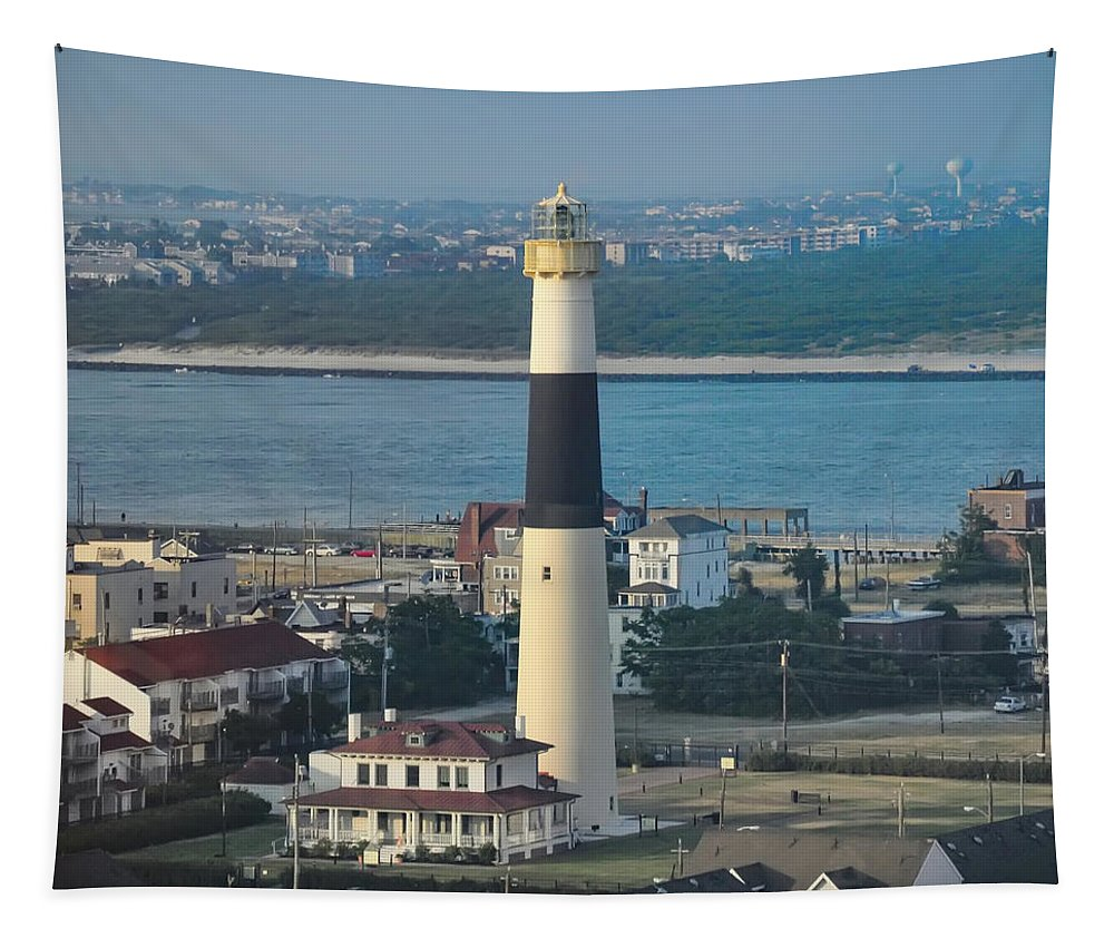 The Tapestry featuring the photograph The Absecon Lighthouse In Atlantic City New Jersey by Bill Cannon