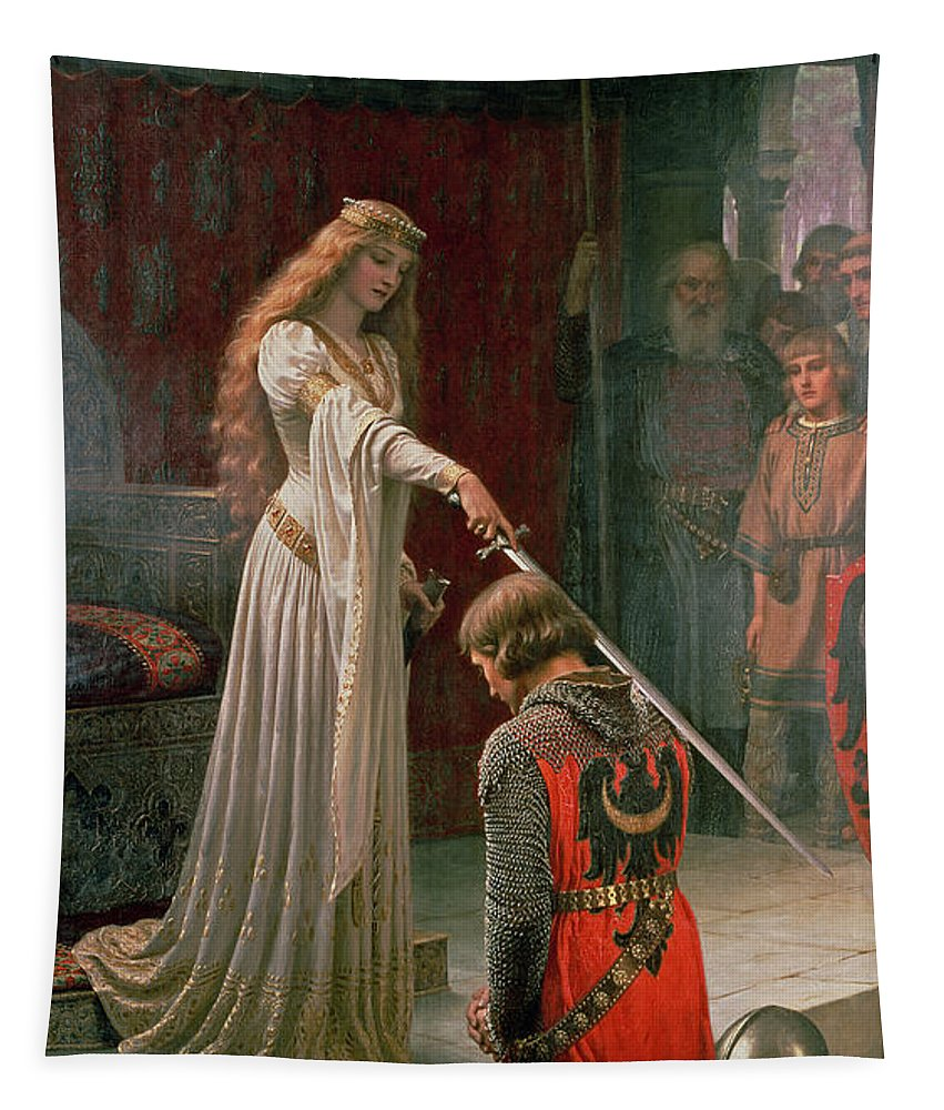 The Tapestry featuring the painting The Accolade by Edmund Blair Leighton