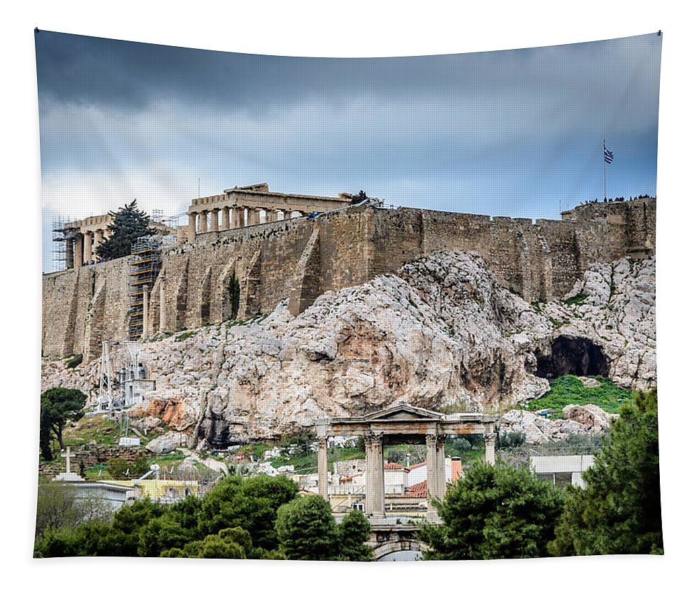 The Acropolis - Athens Greece Tapestry featuring the photograph The Acropolis - Athens Greece by Debra Martz