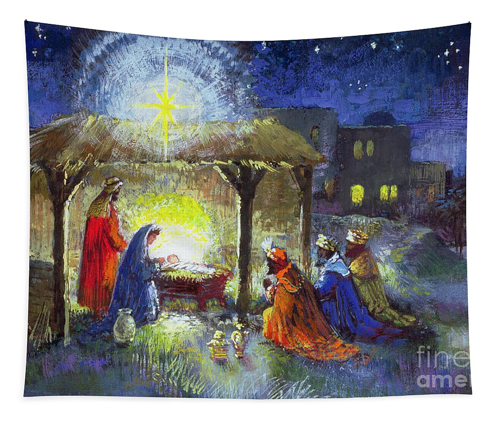 Star Of Bethlehem Tapestry featuring the painting The Adoration Of The Magi by Stanley Cooke