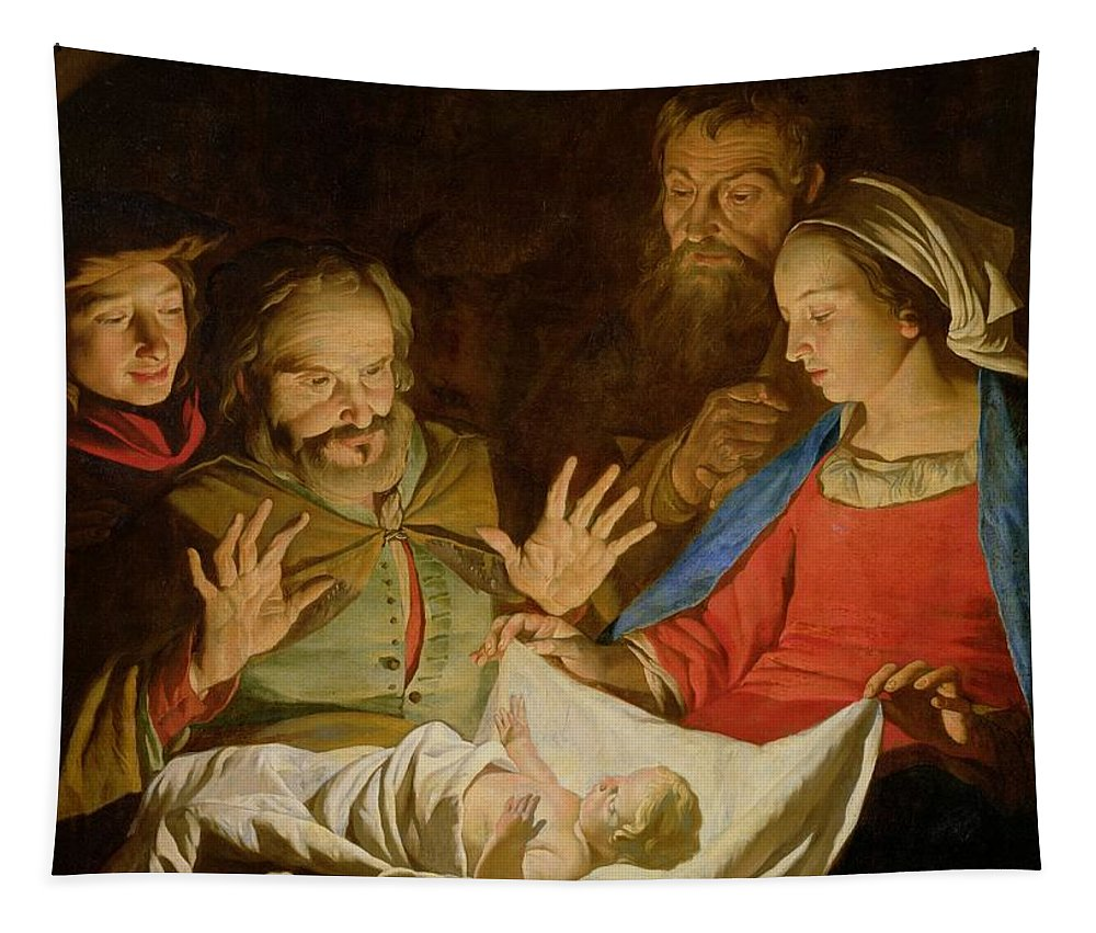 The Adoration Of The Shepherds (oil On Canvas) Tapestry featuring the painting The Adoration Of The Shepherds by Matthias Stomer