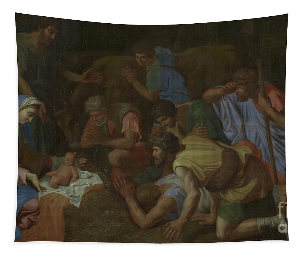 French Tapestry featuring the painting The Adoration Of The Shepherds by Nicholas Poussin