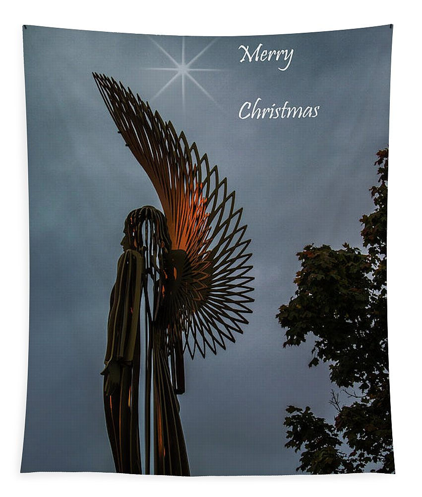 Christmas Card Tapestry featuring the photograph The Angel At Christmas by Steve Purnell