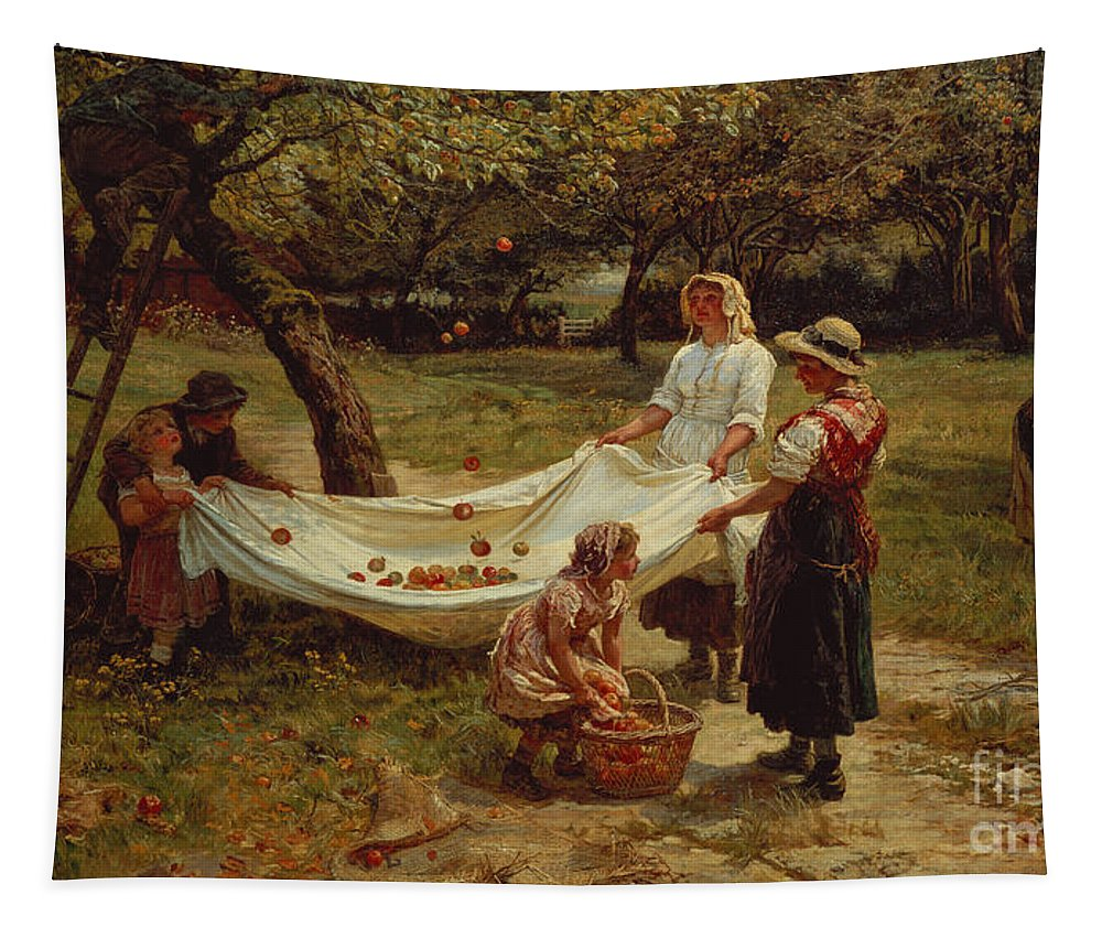 The Tapestry featuring the painting The Apple Gatherers by Frederick Morgan