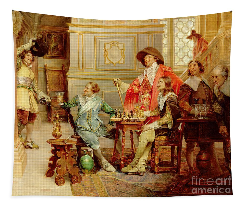 Athos; Porthos; Aramis; Musketeer; Interior; French; Male; Guards; C17th; Chess; Playing; Drinking; C19th; C20th; Mousqutaire Tapestry featuring the painting The Arrival Of D'artagnan by Alex de Andreis