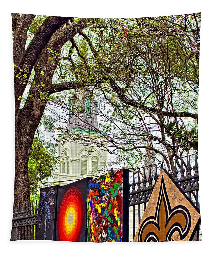French Quarter Tapestry featuring the photograph The Art Of Jackson Square by Steve Harrington