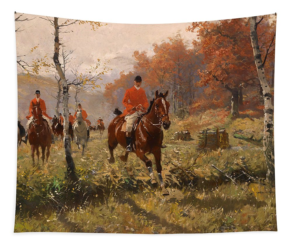 Painting Tapestry featuring the painting The Autumn Hunt by Mountain Dreams