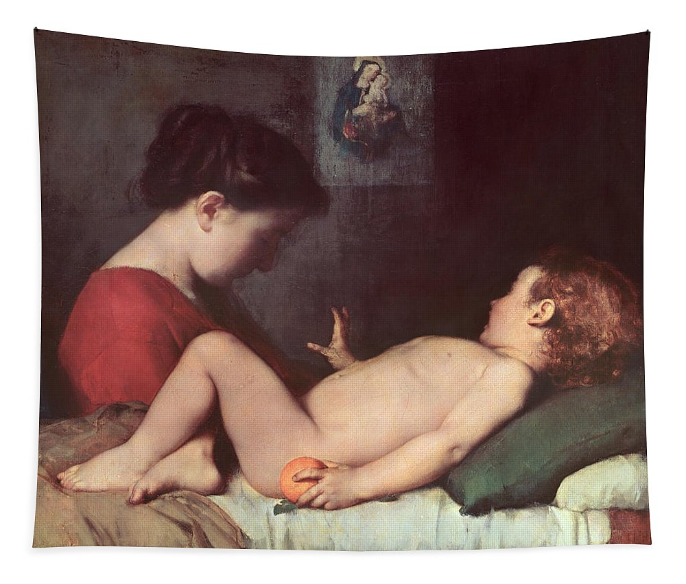 The Tapestry featuring the painting The Awakening Child by Jean Jacques Henner