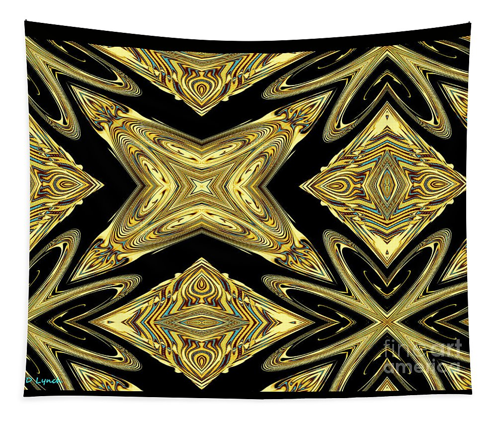 Golden Tapestry featuring the digital art The Aztec Golden Treasures by Debra Lynch