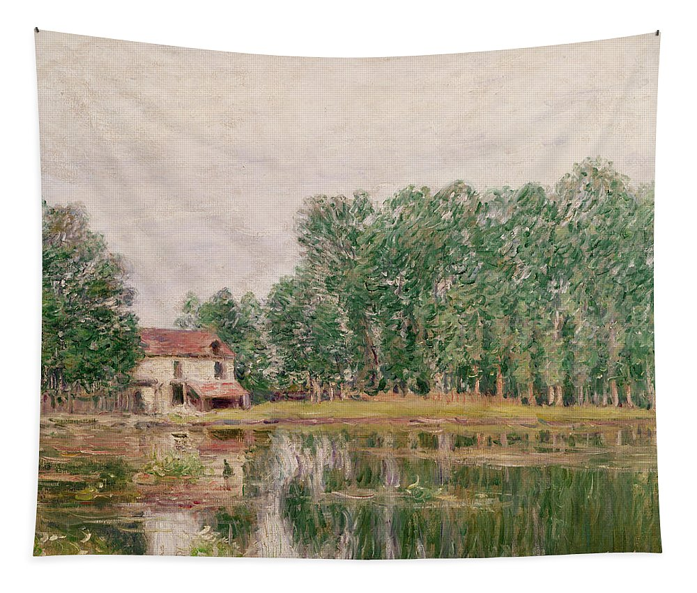 The Banks Of The Canal At Moret-sur-loing Tapestry featuring the painting The Banks Of The Canal At Moret Sur Loing by Alfred Sisley