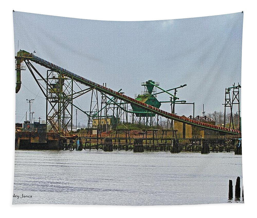 The Barge Waits At Aberdeen Tapestry featuring the digital art The Barge Waits At Aberdeen by Tom Janca