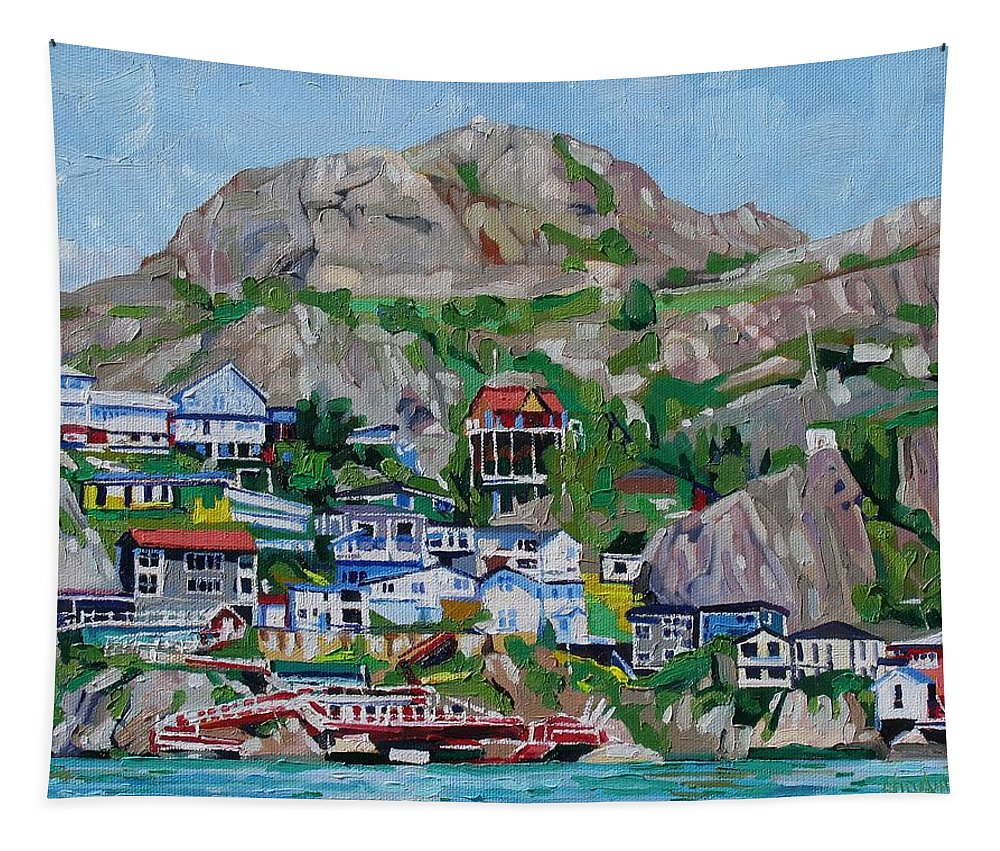 889 Tapestry featuring the painting The Battery by Phil Chadwick