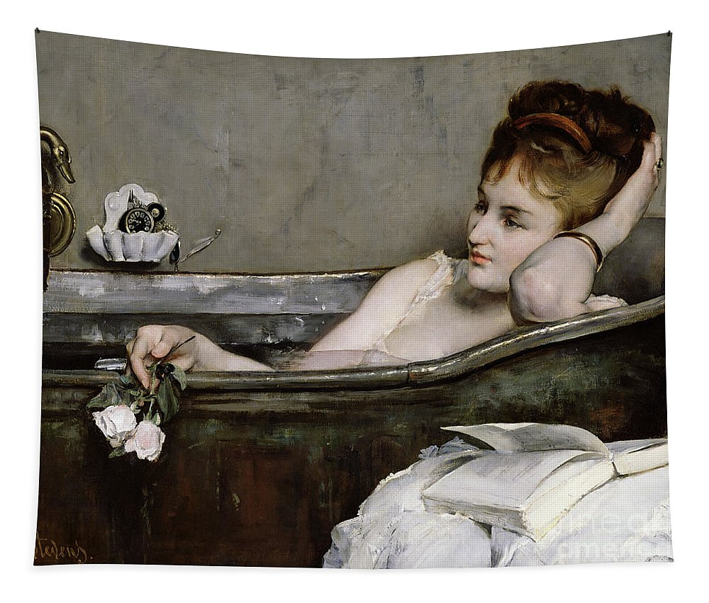 Alfred George Stevens Tapestry featuring the painting The Bath by Alfred George Stevens