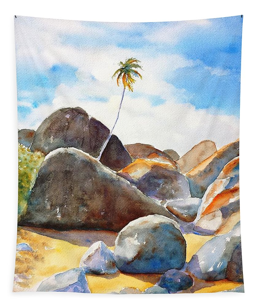 The Baths Tapestry featuring the painting The Baths Palm Tree by Carlin Blahnik CarlinArtWatercolor