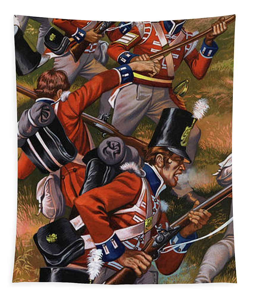 History Tapestry featuring the painting The Battle Of Corunna by Ron Embleton