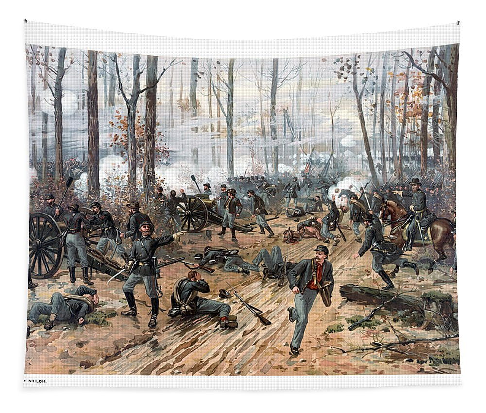 Civil War Tapestry featuring the painting The Battle Of Shiloh by War Is Hell Store