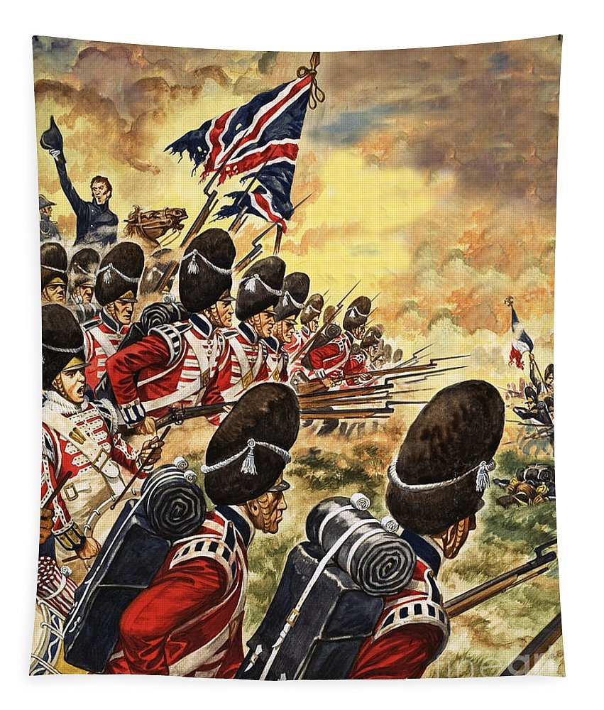 The Battle Of Waterloo Tapestry featuring the painting The Battle Of Waterloo by Peter Jackson