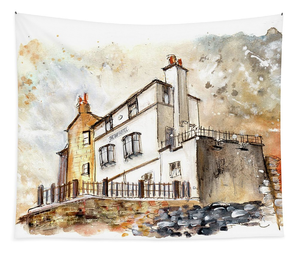 Travel Tapestry featuring the painting The Bay Hotel In Robin Hoods Bay by Miki De Goodaboom