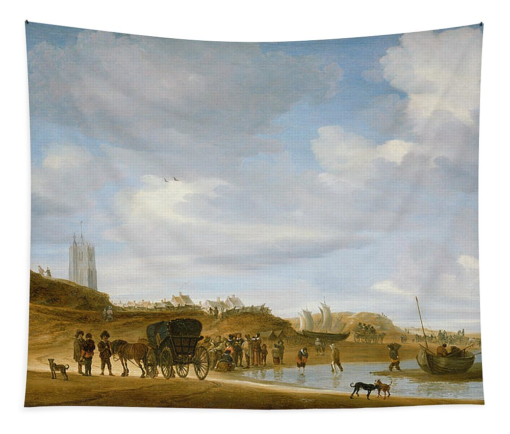 The Tapestry featuring the painting The Beach At Egmond An Zee by Salomon van Ruysdael