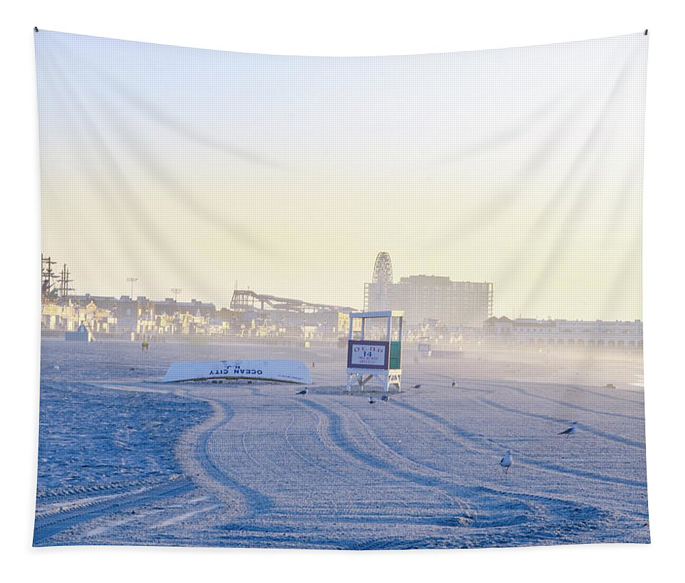 The Tapestry featuring the photograph The Beach At Ocean City by Bill Cannon