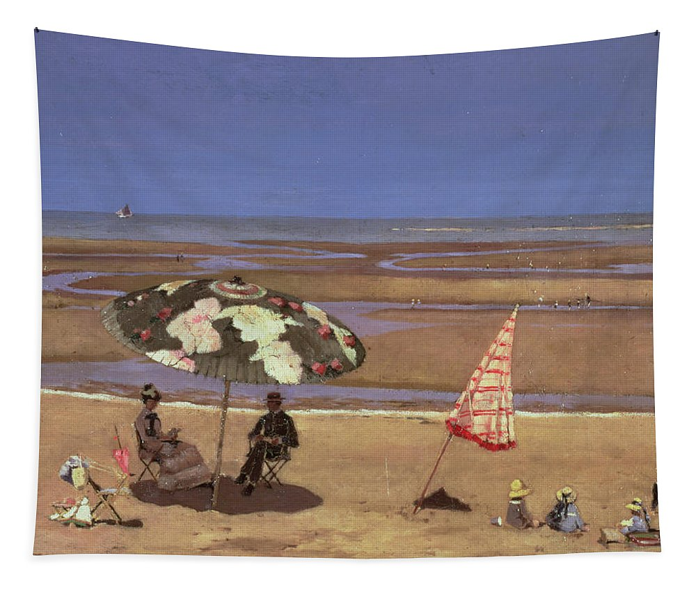 Bay Tapestry featuring the painting The Beach by Etienne Moreau Nelaton