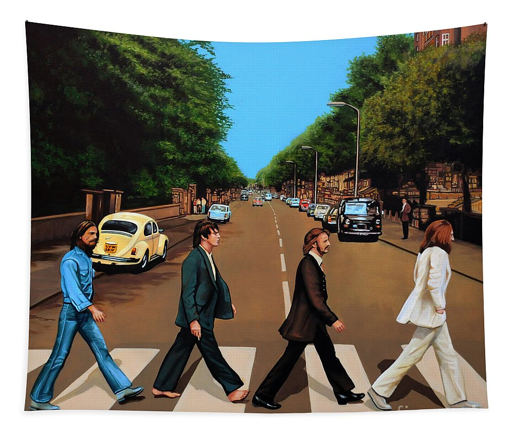 The Beatles Tapestry featuring the painting The Beatles Abbey Road by Paul Meijering