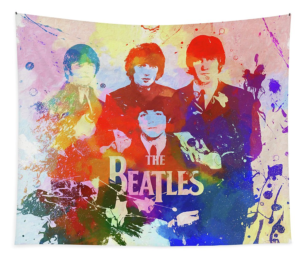 The Beatles Watercolor Tapestry featuring the painting The Beatles Paint Splatter by Dan Sproul