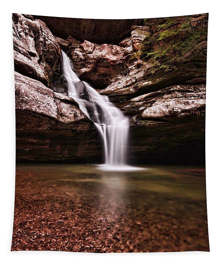 The Beautiful Cedar Falls Tapestry featuring the photograph The Beautiful Cedar Falls by Dan Sproul