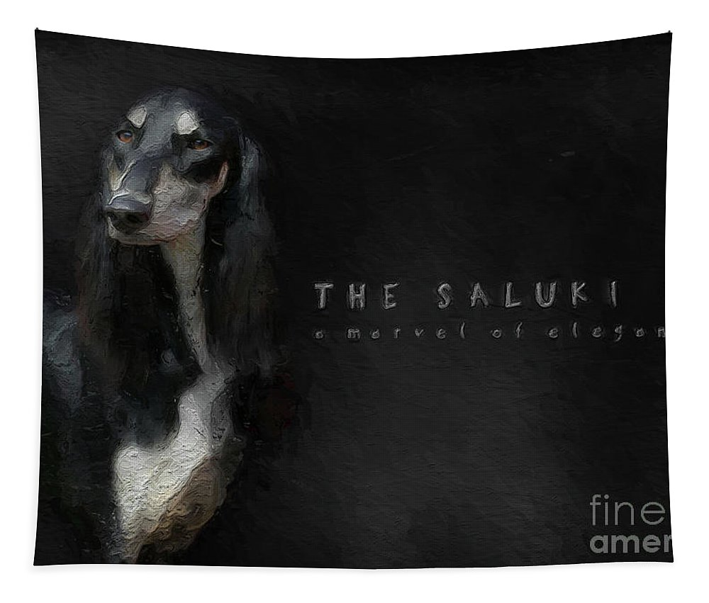 Saluki Tapestry featuring the digital art The Beautiful Saluki 01 by Maria Astedt