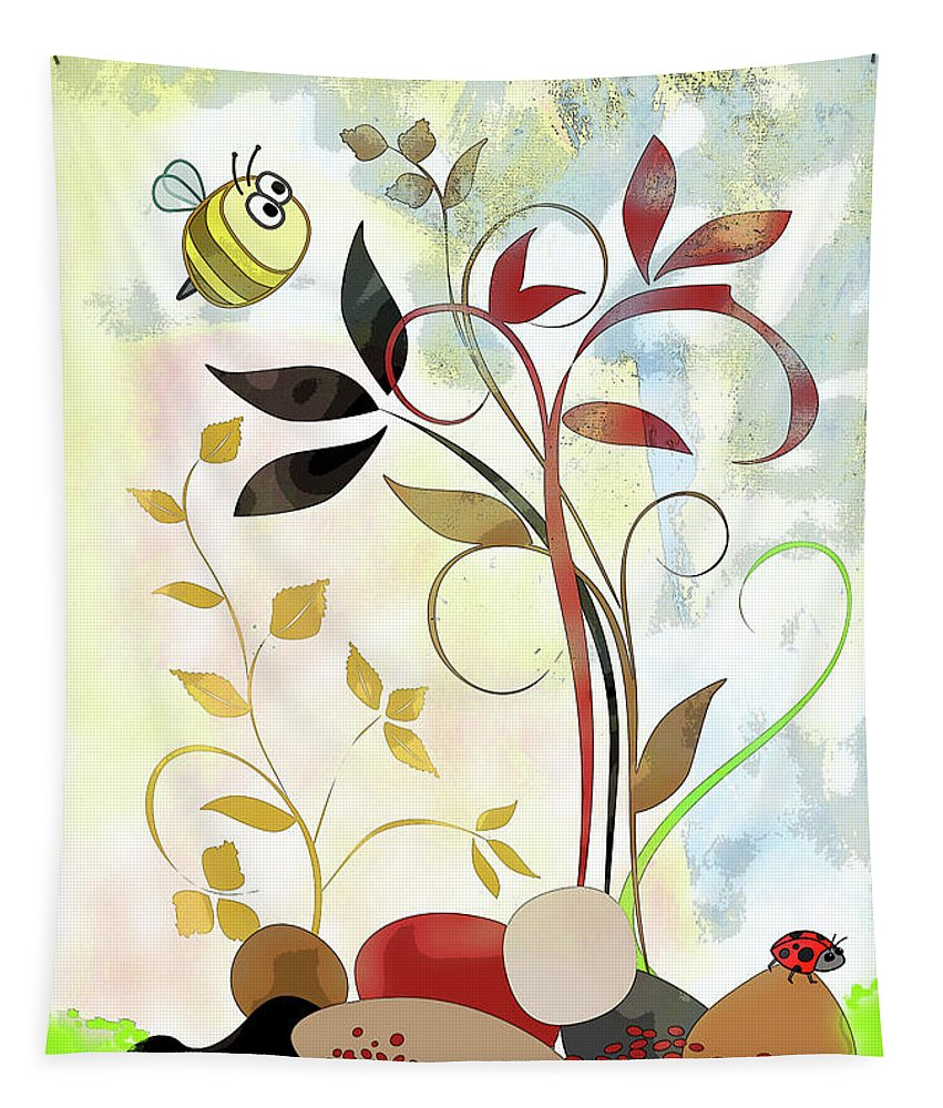 Bee Tapestry featuring the mixed media The Bee And The Ladybug by Ruth Palmer
