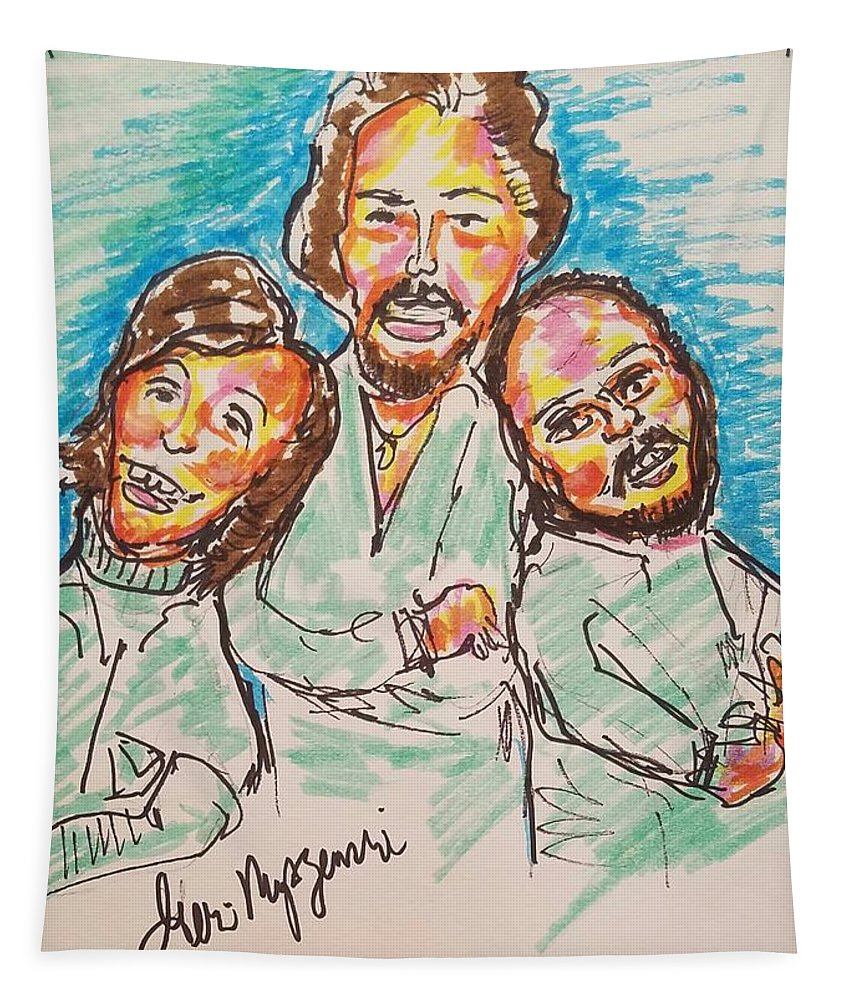 Bee Gees Tapestry featuring the painting The Bee Gees by Geraldine Myszenski